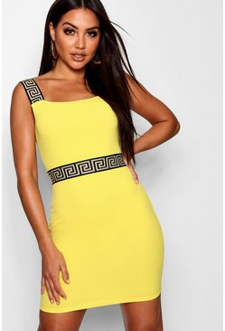 Womens Yellow Greek Key Trim Bodycon Dress