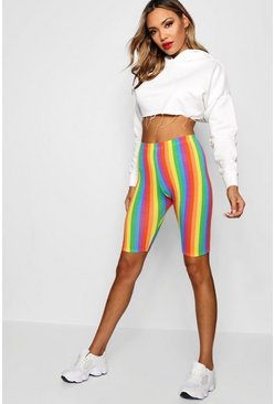 Womens Pink Rainbow Stripe Cycling Shorts