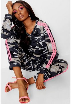 Womens Pink Camo Sports Stripe Jogger Set