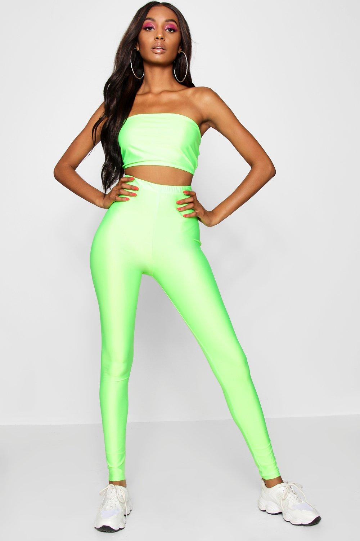Vintage High Waisted Trousers, Sailor Pants, Jeans Womens High Shine Neon Legging - Green - 10 $9.00 AT vintagedancer.com
