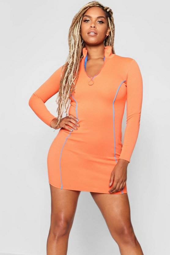 Contrast 1/2 Zip Bodycon Dress