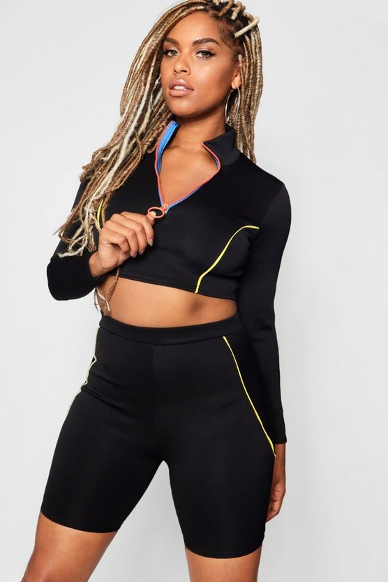 Contrast 1/2 Zipper Sport Crop Top