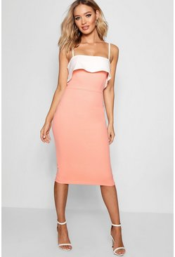 Womens Coral blush Strappy Layered Top Midi Dress