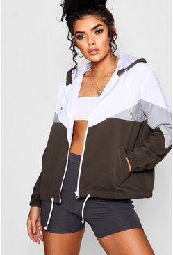 Khaki Hooded Panelled Windbreaker