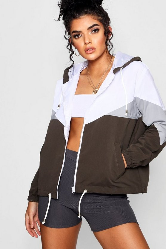 Womens Khaki Hooded Panelled Windbreaker
