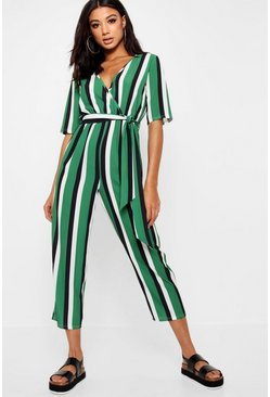 Womens Green Striped Wrap Front Tapered Leg Jumpsuit