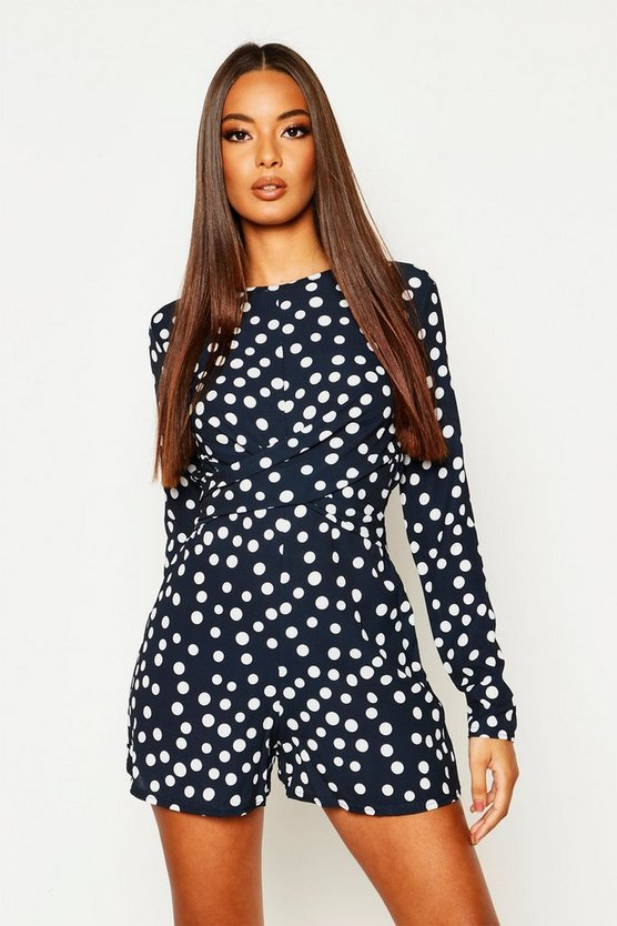 Womens Navy Twist Front Polkadot Playsuit