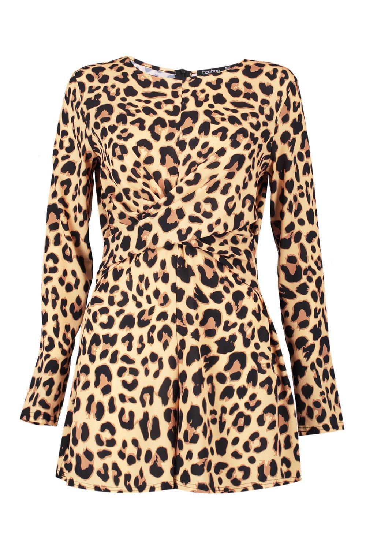 por enrollado delante corto de estampado con leopardo leopardo Mono q1wTE4x5Hw