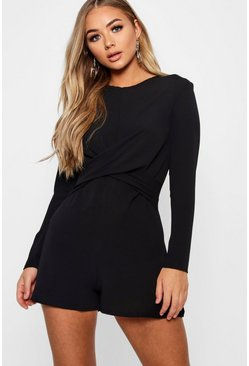 Womens Black Twist Front Woven Playsuit