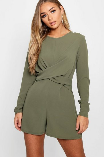 Womens Khaki Twist Front Woven Playsuit