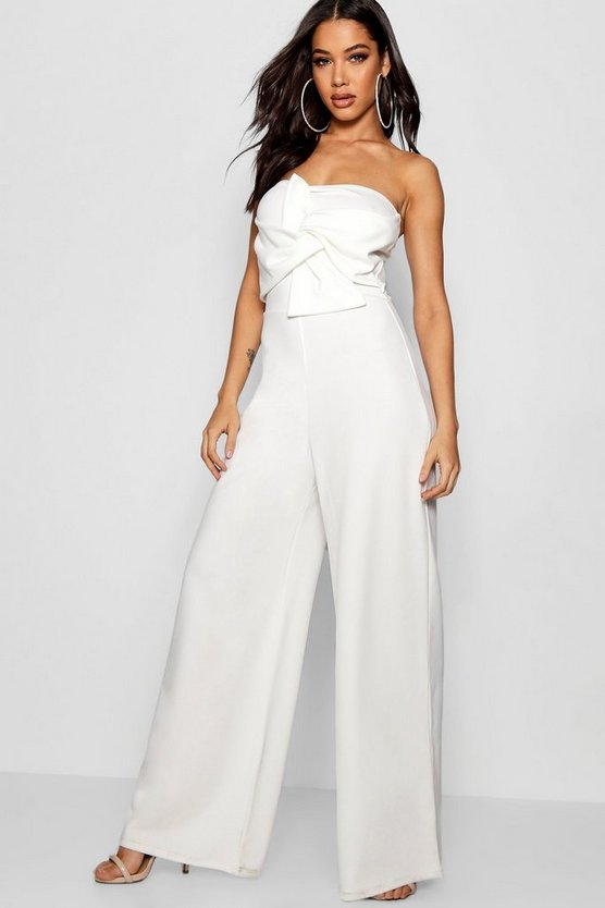 Womens White Twist Bandeau Culotte Jumpsuit