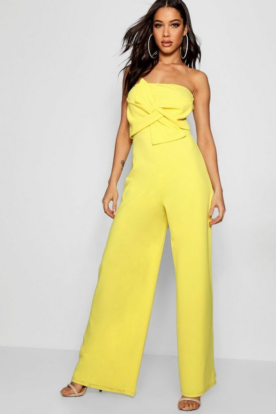 Womens Yellow Twist Bandeau Culotte Jumpsuit