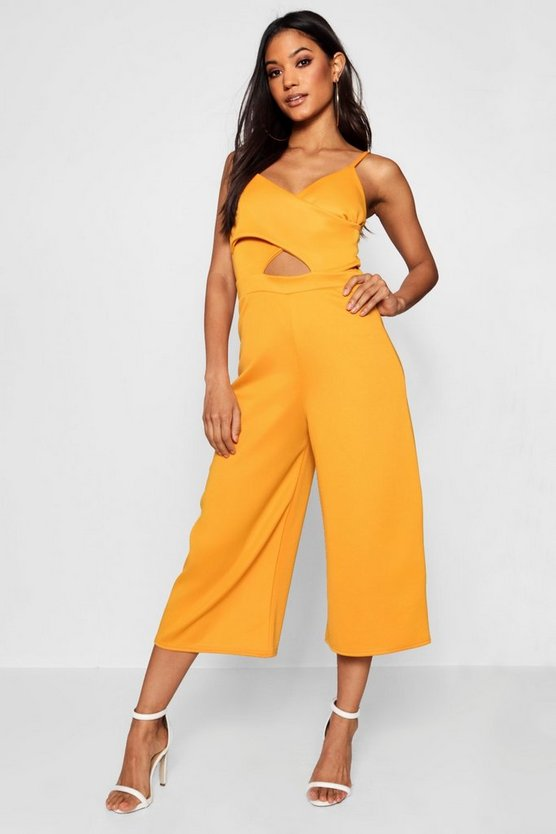 Wrap Middle Cut Out Culotte Jumpsuit