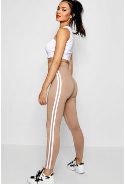 Leggings con lateral doble, Camel, Mujer