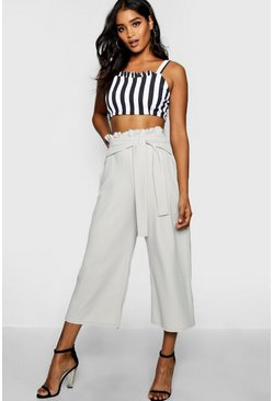 Grey Crepe Paperbag Tie Waist Culottes