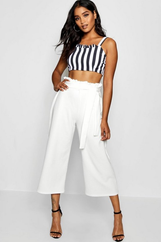 Crepe Paperbag Tie Waist Culottes