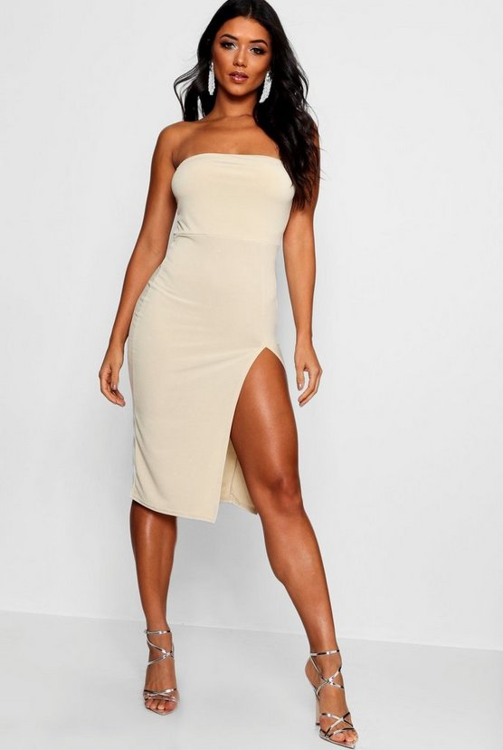 Bandeau Thigh Split Midi Dress
