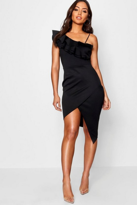 Ruffle Deatil Asymmetric Midi Dress