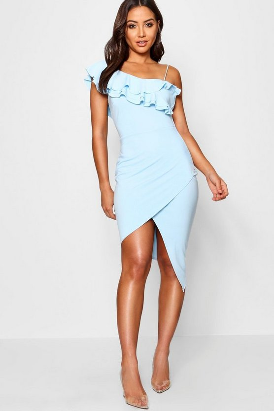 Womens Sky Ruffle Deatil Asymmetric Midi Dress