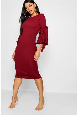 Womens Berry Tie Sleeve Detail Midi Dress