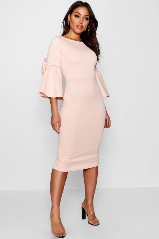 Tie Sleeve Detail Midi Dress