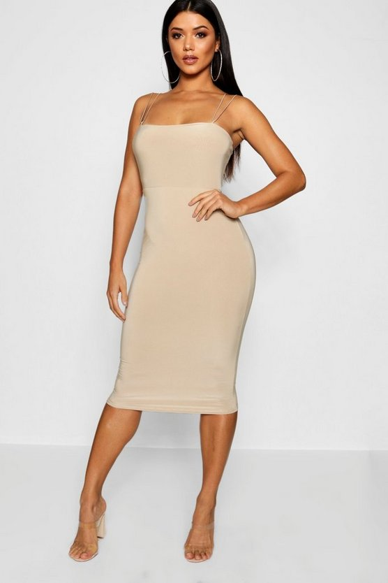 Slinky Square Neck Midi Dress
