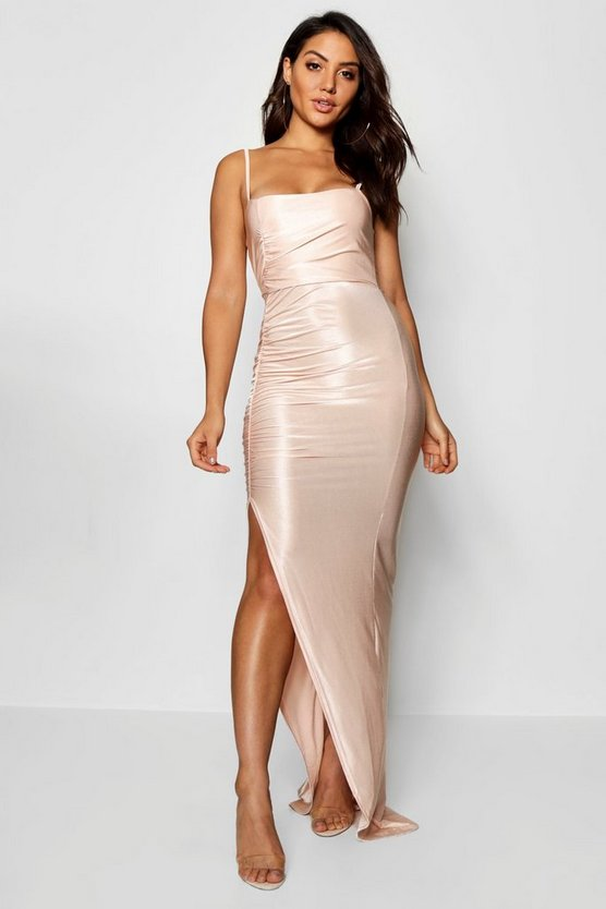 Ruched Sqaure Neck Maxi Dress