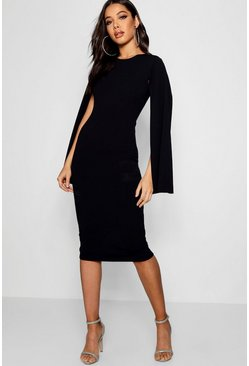 Womens Black Cape Sleeve Bodycon Midi Dress