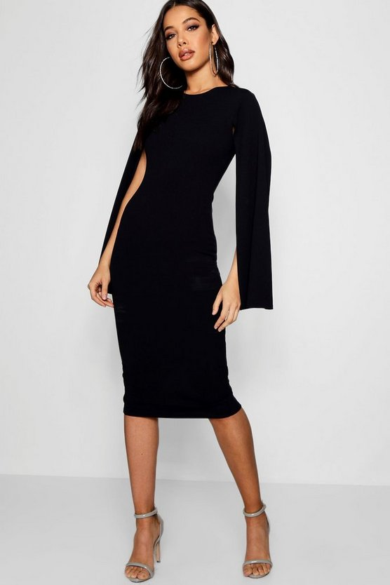 Cape Sleeve Bodycon Midi Dress