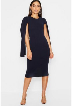 Womens Navy Cape Sleeve Bodycon Midi Dress