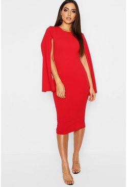 Womens Red Cape Sleeve Bodycon Midi Dress