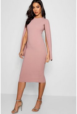 Womens Rose Cape Sleeve Bodycon Midi Dress