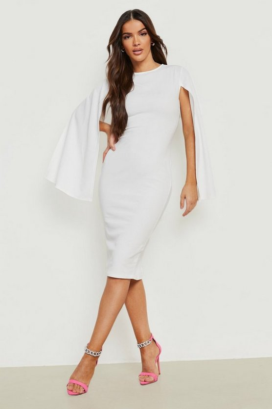 Womens White Cape Sleeve Bodycon Midi Dress