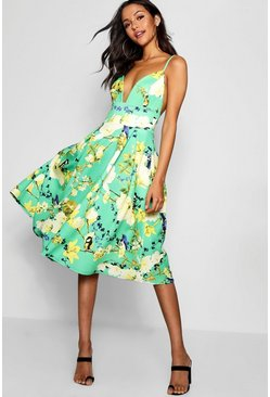 Womens Green Floral Scuba Frill Skirt Midi Skater Dress