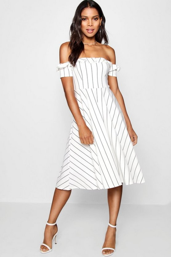 Womens Ivory Off the Shoulder Stripe Midi Skater Dress