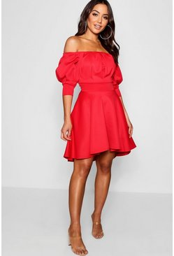 Womens Red Off the Shoulder Puff Sleeve Skater Dress