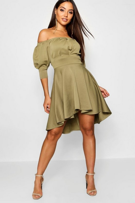 Womens Sage Off the Shoulder Puff Sleeve Skater Dress