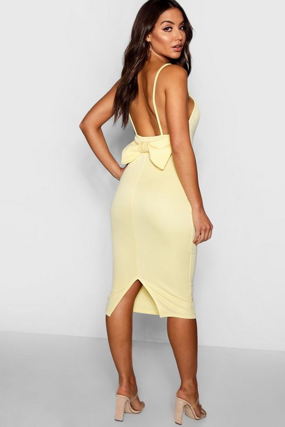 Sweetheart Neck Bow Back Midi Dress