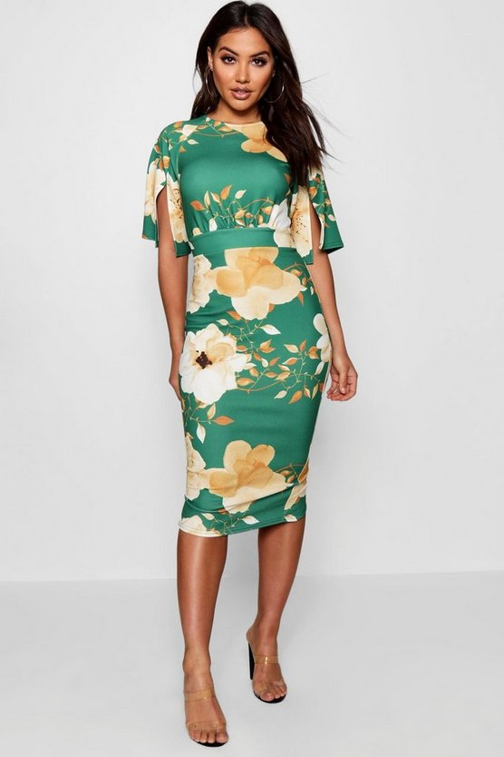 Floral Split Sleeve Detail Wiggle Midi Dress