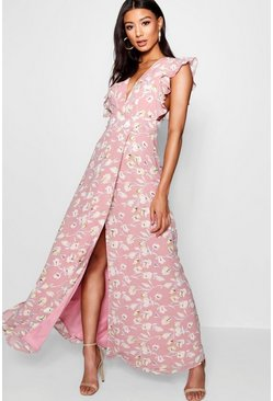 Dam Rose Floral Frill Detail Wrap Maxi Dress