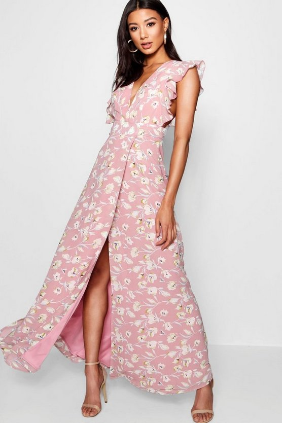 Womens Rose Floral Frill Detail Wrap Maxi Dress