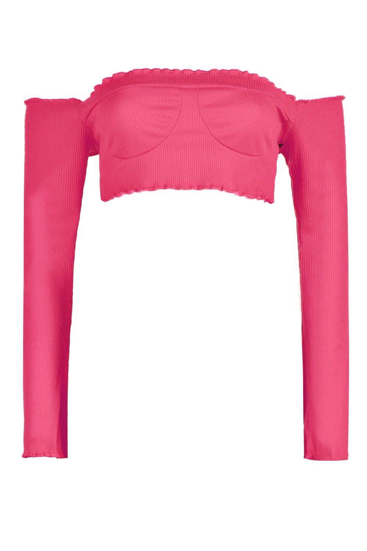 bandeau corto larga acanalado Top rosa con manga FwZqxB0