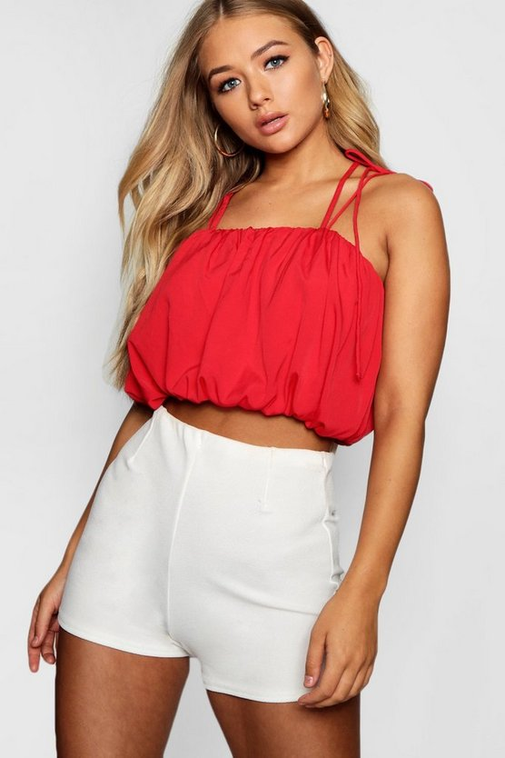 Puff Ball Halter Crop Cami