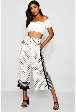 Womens Ivory Polka Dot Stripe Wide Leg Woven Culottes
