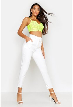 Womens White High Waist Statement Belt Peg Leg Trouser