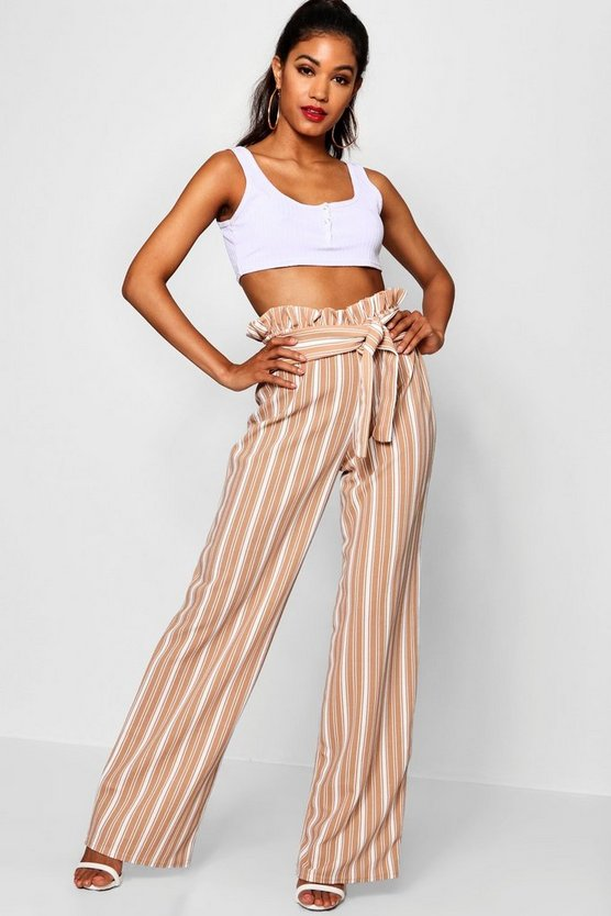 Nude Crepe Stripe Paperbag Wide Leg Pants