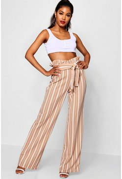 Womens Nude Crepe Stripe Paperbag Wide Leg Trouser