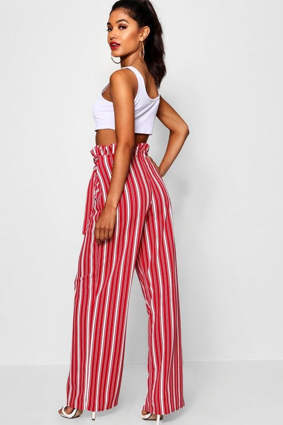 Crepe Stripe Paperbag Wide Leg Trouser