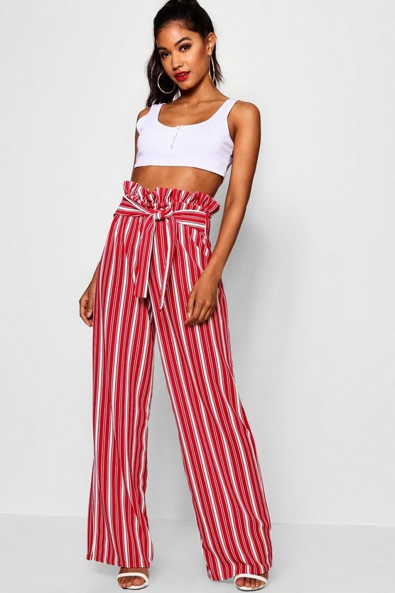 Womens Red Crepe Stripe Paperbag Wide Leg Trouser