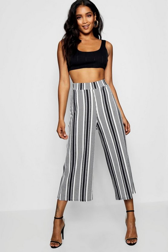 Ivory High Waist Mono Stripe Wide Leg Culotte